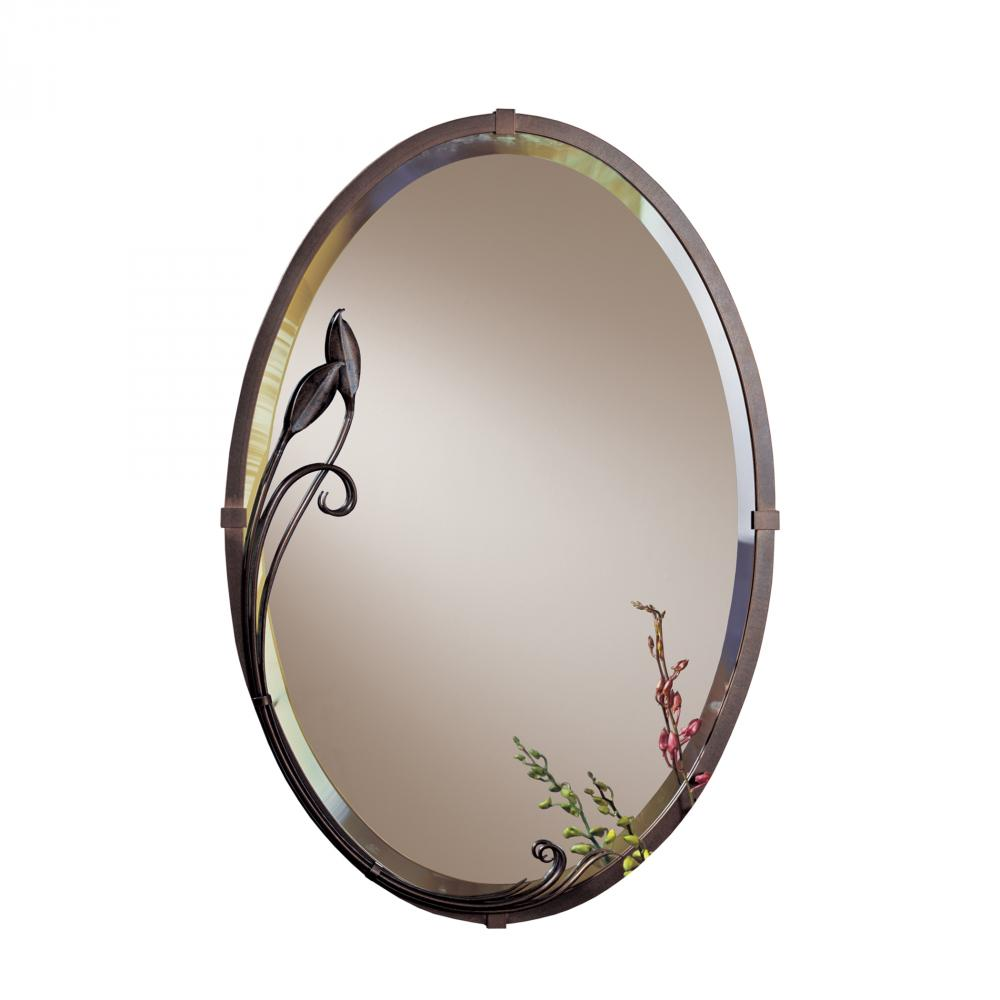 Beveled Oval Mirror with Leaf