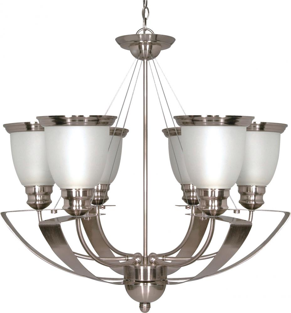 "Palladium - 6 Light - 25"" - Chandelier - w/ Satin Frosted Glass Shades"