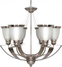 "Nuvo 60-616 - Palladium - 6 Light - 25"" - Chandelier - w/ Satin Frosted Glass Shades"