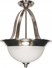 "Nuvo 60-621 - Palladium - 3 Light - 16"" - Pendant (Convertible) - w/ Satin Frosted Glass Shades"