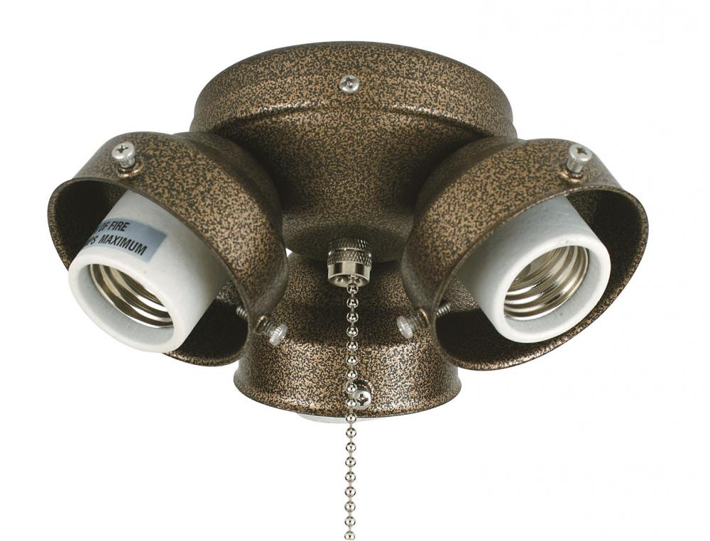 3-LIGHT TURTLE FITTER: ANTIQUE BRASS 220 VOLT
