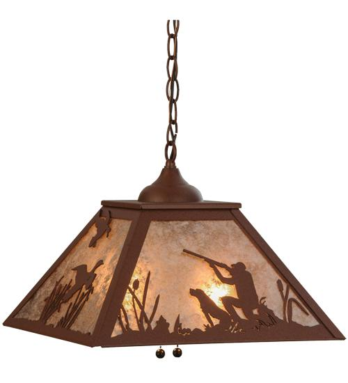 16 Sq Quail Hunter W Dog Pendant 76323 Lighting Group Utah